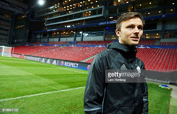 William Kvist of FC Copenhagen speaks to the media during the FC Copenhagen training and press conference ahead of the UEFA Champions League match...