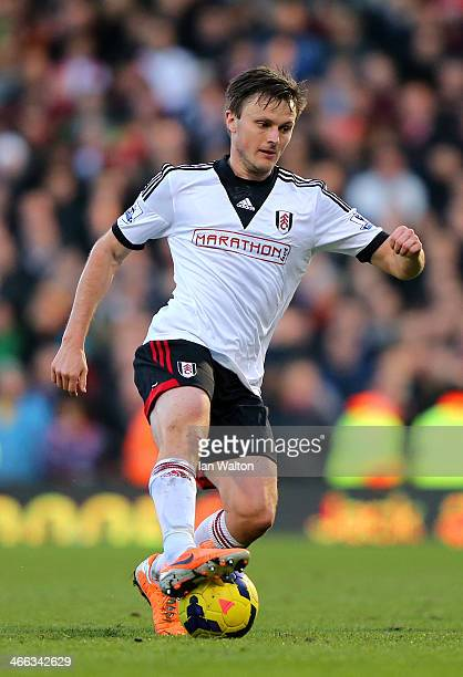 William Kvist of Fulham in action during the Barclays Premier League match between Fulham and Southampton at Craven Cottage on February 1 2014 in...