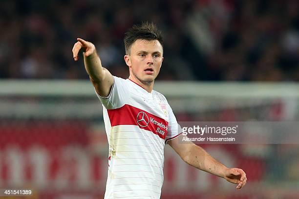William Kvist of Stuttgart reacts during the Bundesliga match between VfB Stuttgart and Borussia Moenchengladbach at MercedesBenz Arena on November...