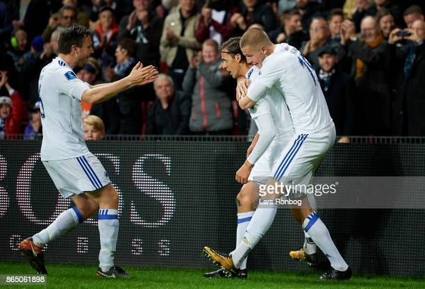 William Kvist Uros Matic and Denis Vavro of FC Copenhagen celebrate after scoring their first goal during the Danish Alka Superliga match between FC...