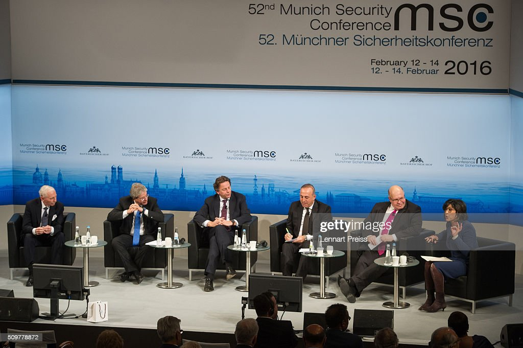 William Lacy Swing (L-R), General Director of International Organization for Migration, <a gi-track='captionPersonalityLinkClicked' href=/galleries/search?phrase=Paolo+Gentiloni&family=editorial&specificpeople=579372 ng-click='$event.stopPropagation()'>Paolo Gentiloni</a>, Minister of Foreign Affairs of Italy, <a gi-track='captionPersonalityLinkClicked' href=/galleries/search?phrase=Bert+Koenders&family=editorial&specificpeople=2358914 ng-click='$event.stopPropagation()'>Bert Koenders</a>, Minister of Foreign Affairs of the Netherlands, Mevlut Cavusoglu, Minister of Foreign Affairs of Turkey, Peter Altmeier, Head of the German Federal Chancellery and <a gi-track='captionPersonalityLinkClicked' href=/galleries/search?phrase=Christiane+Amanpour&family=editorial&specificpeople=621528 ng-click='$event.stopPropagation()'>Christiane Amanpour</a>, Chief International Correspondent of CNN attend the Bayerischer Hof hotel on February 12, 2016 in Munich, Germany. The annual event brings together government representatives and security experts from across the globe and this year the conflict in Syria will be the main issue under discussion.