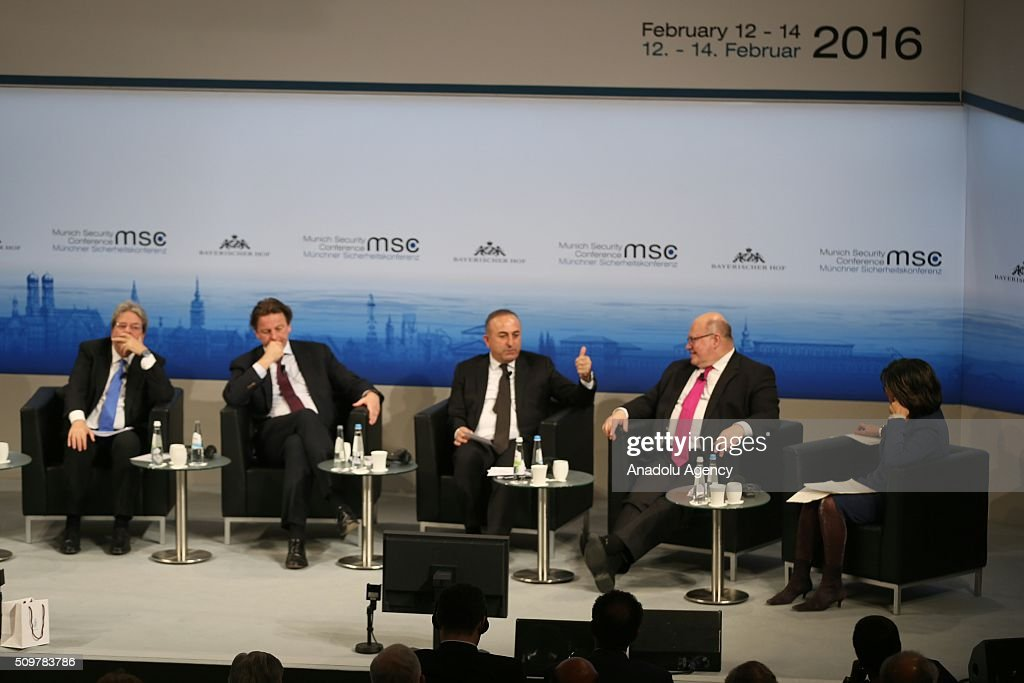 William Lacy Swing, General Director of International Organization for Migration, Paolo Gentiloni, Minister of Foreign Affairs of Italy, Bert Koenders, Minister of Foreign Affairs of the Netherlands, Mevlut Cavusoglu, Minister of Foreign Affairs of Turkey, Peter Altmeier, Head of the German Federal Chancellery and Christiane Amanpour, Chief International Correspondent of CNN attend the 2016 Munich Security Conference at the Bayerischer Hof hotel on February 12, 2016 in Munich, Germany. The annual event brings together government representatives and security experts from across the globe and this year the conflict in Syria will be the main issue under discussion.