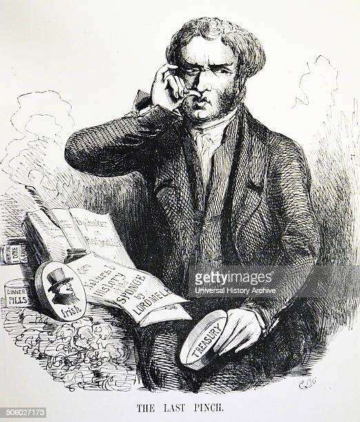 William Lamb 2nd Viscount Melbourne British Prime Minister taking a last pinch of snuff His administration fell in August 1841 Cartoon from ''Punch''...