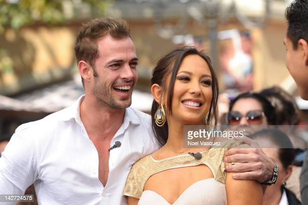 William Levy and Cheryl Burke visit 'Extra' at The Grove on April 11 2012 in Los Angeles California
