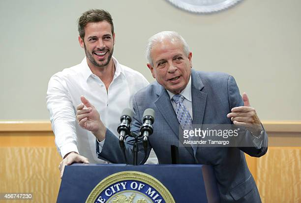 William Levy and Tomas Regalado are seen at Miami City Hall where William Levy received the key to the City of Miami from Mayor Tomas Regalado on...