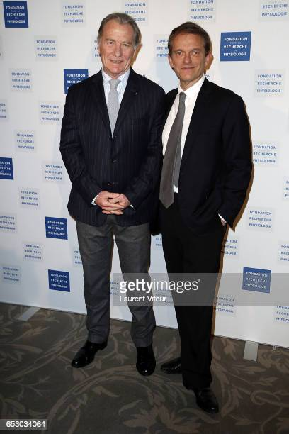 William Leymergie and Doctor Frederic Saldmann attend 'La Recherche en Physiologie' Charity Gala at Four Seasons Hotel George V on March 13 2017 in...