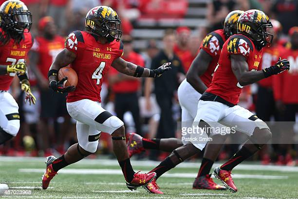 William Likely of the Maryland Terrapins returns a punt in the fourth quarter against the Richmond Spiders at Byrd Stadium on September 5 2015 in...