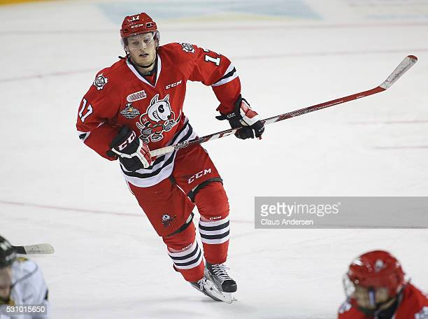 William Lochead of the Niagara IceDogs skates against the London Knights during Game Four of the OHL Championship final for the JRoss Robertson Cup...