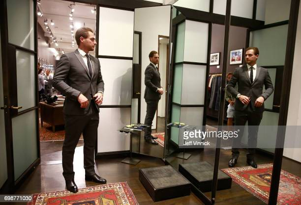William M Jennings Trophy winner Braden Holtby of the Washington Capitals is fitted at John Varvatos at The Forum Shops at Caesars prior to the 2017...