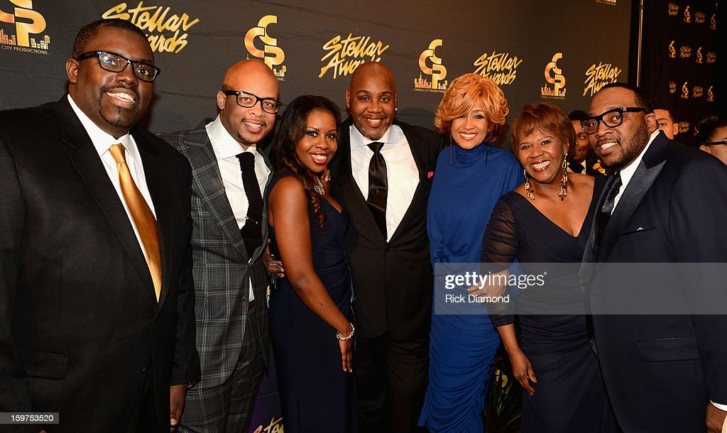 William McDowell, James Fortune, Anaysha Figueroa-Cooper, Greg Cole, Dorinda Clark Cole, Central City Productions President & COO Erma Davis, and Marvin Sapp arrive to the 28th Annual Stellar Awards Red Carpet at Grand Ole Opry House on January 19, 2013 in Nashville, Tennessee.