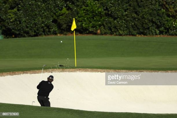 William McGirt of the United States holes his bunker shot on the fourth hole during the second round of the 2017 Masters Tournament at Augusta...