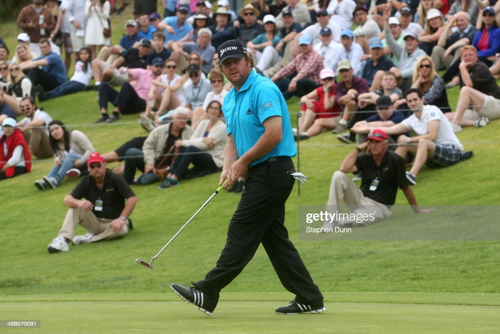 William McGirt reacts as he misses a birdie putt attempt on the 18th green in the third round of the Northern Trust Open at the Riviera Country Club on February 15, 2014 in Pacific Palisades, California.