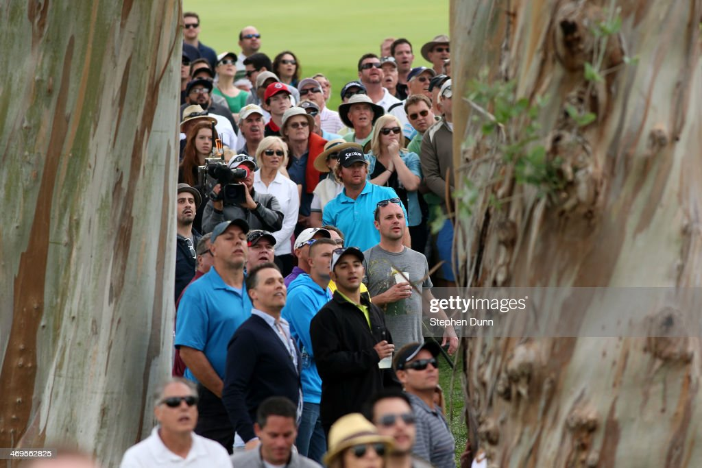 William McGirt watches his shot from off the fairway on the 18th hole in the third round of the Northern Trust Open at the Riviera Country Club on February 15, 2014 in Pacific Palisades, California.