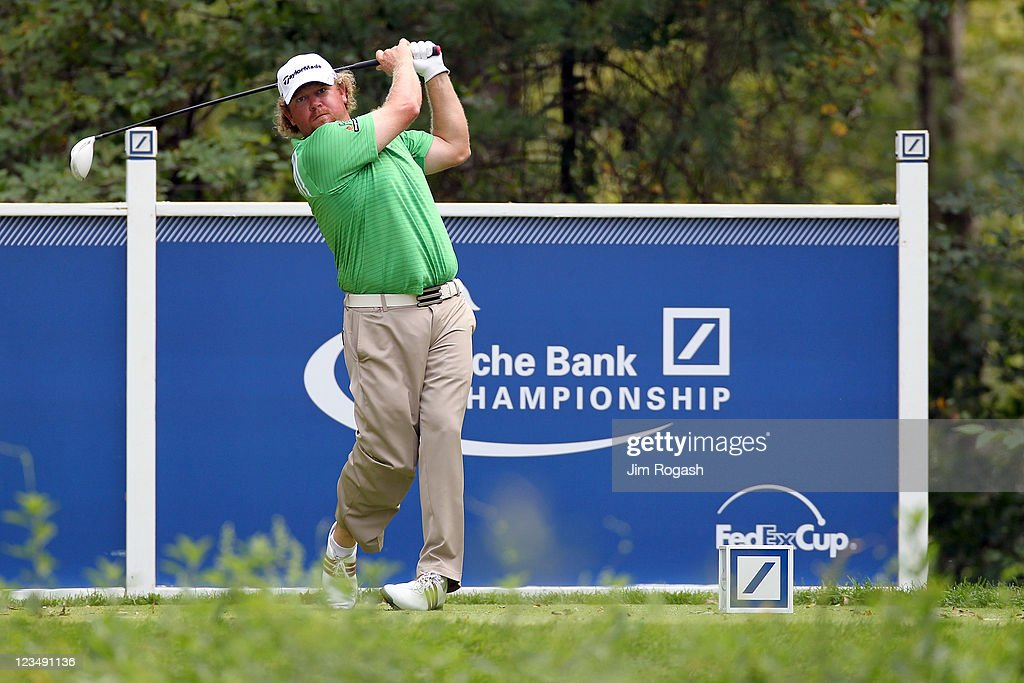 William McGirt watches his tee shot on the ninth hole during the second round of the Deutsche Bank Championship at TPC Boston on September 3, 2011 in Norton, Massachusetts.