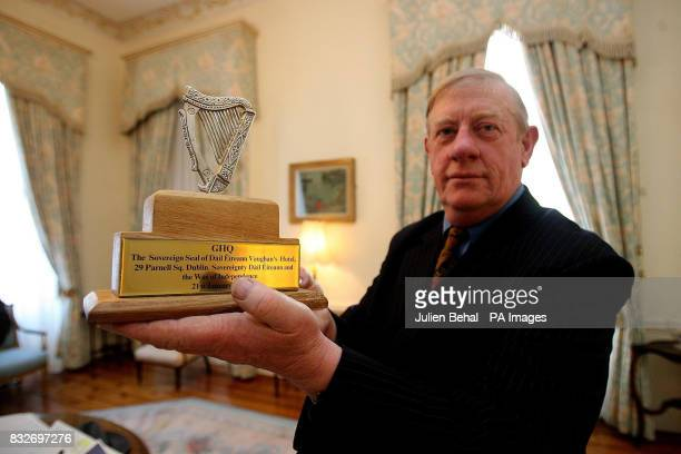 William McGuire of the McGuire clan keepers of the Sovereign Seal of Ireland holds the seal in Mansion House Dublin during a ceremony to mark the...