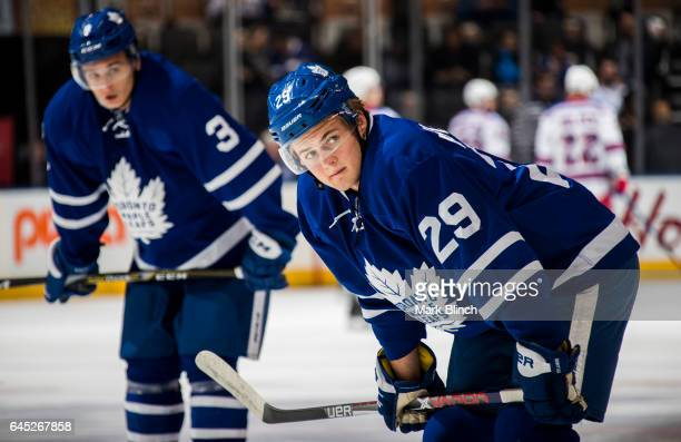 William Nylander and Alexey Marchenko of the Toronto Maple Leafs take part in warm up prior to the game against the New York Rangers at the Air...