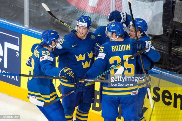 William Nylander celebrates his goal with teammates during the Ice Hockey World Championship Quarterfinal between Switzerland and Sweden at...