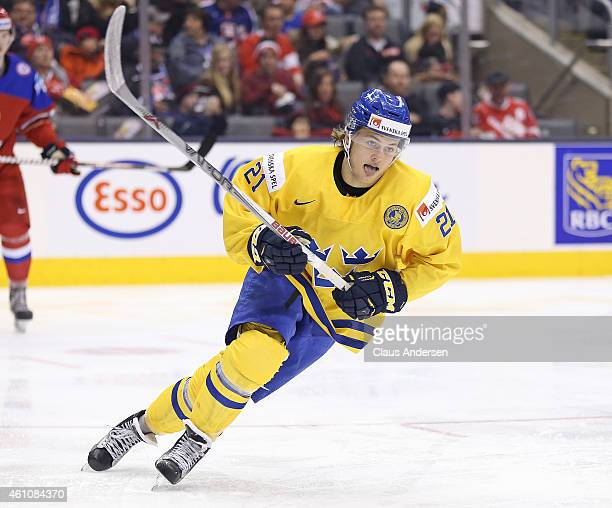 William Nylander of Team Sweden skates against Team Russia during a semifinal game in the 2015 IIHF World Junior Hockey Championship at the Air...