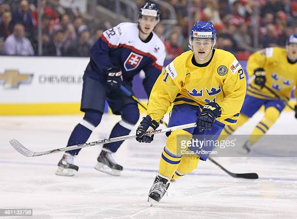 William Nylander of Team Sweden skates against Team Slovakia during the Bronze medal game in the 2015 IIHF World Junior Hockey Championship at the...