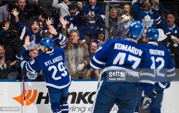 William Nylander of the Toronto Maple Leafs celebrates his goal against the Ottawa Senators during the third period at the Air Canada Centre on...