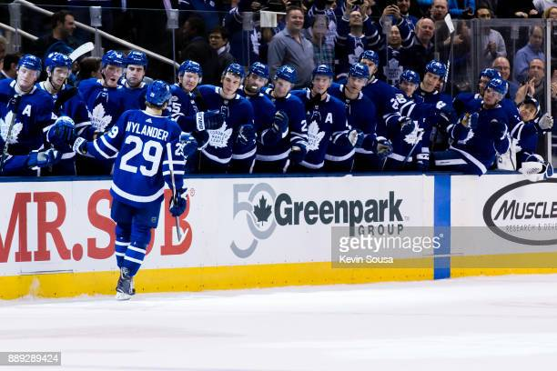 William Nylander of the Toronto Maple Leafs celebrates with teammates after scoring against the Calgary Flames in shootouts at the Air Canada Centre...