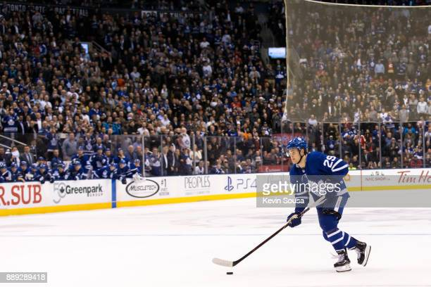William Nylander of the Toronto Maple Leafs gets set to take a shot against the Calgary Flames during the shootouts at the Air Canada Centre on...