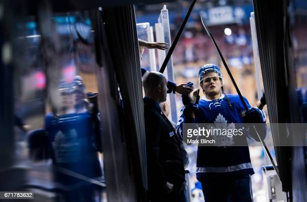 William Nylander of the Toronto Maple Leafs greets fans prior to playing the Washington Capitals in Game Four of the Eastern Conference First Round...