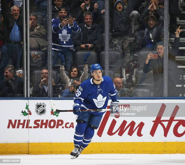 William Nylander of the Toronto Maple Leafs heads back to the bench after scoring the eventual game winner in the shootout against the Calgary Flames...