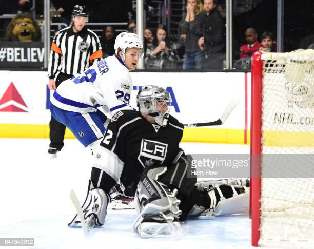 William Nylander of the Toronto Maple Leafs reacts as Jonathan Quick of the Los Angeles Kings makes a save for a 32 win in overtime shootout at...