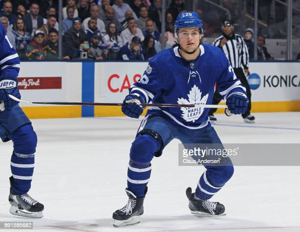William Nylander of the Toronto Maple Leafs skates against the Edmonton Oilers during an NHL game at the Air Canada Centre on December 10 2017 in...