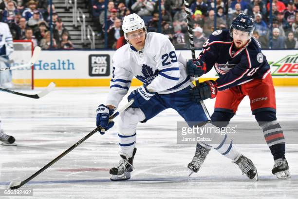 William Nylander of the Toronto Maple Leafs skates against the Columbus Blue Jackets on March 22 2017 at Nationwide Arena in Columbus Ohio