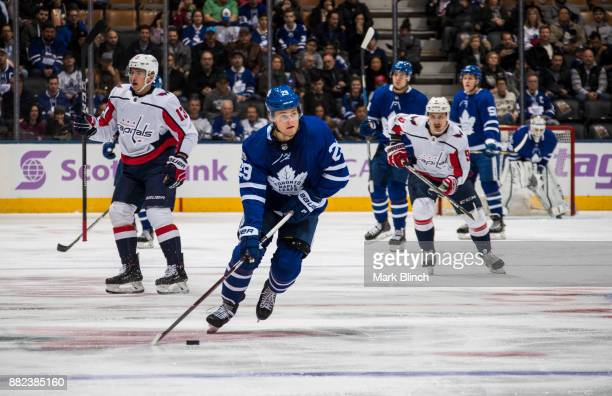 William Nylander of the Toronto Maple Leafs skates against the Washington Capitals during the first period at the Air Canada Centre on November 25...