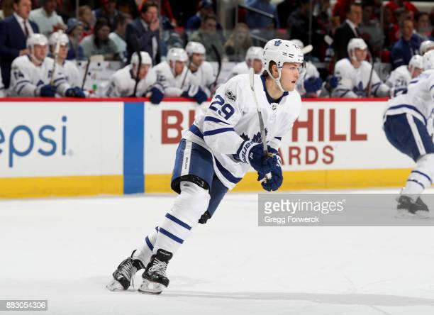 William Nylander of the Toronto Maple Leafs skates for position on the ice during an NHL game against the Carolina Hurricanes on November 24 2017 at...
