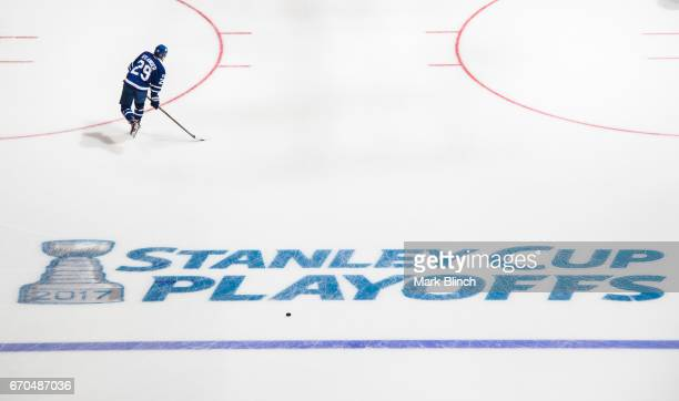 William Nylander of the Toronto Maple Leafs skates in warm up prior to the game against the Washington Capitals in Game Three of the Eastern...