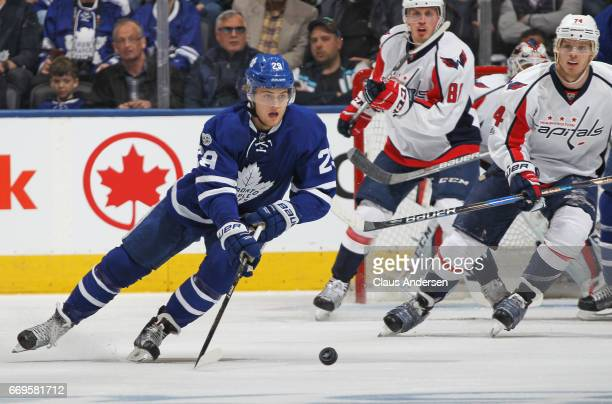 William Nylander of the Toronto Maple Leafs skates with the puck against the Washington Capitals in Game Three of the Eastern Conference...