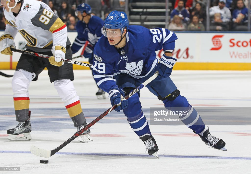 William Nylander #29 of the Toronto Maple Leafs skates with the puck against the Vegas Golden Knights during an NHL game at the Air Canada Centre on November 6, 2017 in Toronto, Ontario, Canada. The Maple Leafs defeated the Golden Knights 4-3 in an overtime shoot-out.