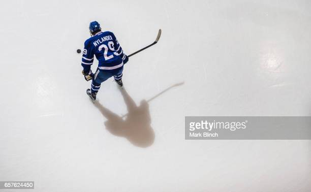 William Nylander of the Toronto Maple Leafs stands on the ice during warm up prior to the game agianst the New Jersey Devils during the first period...