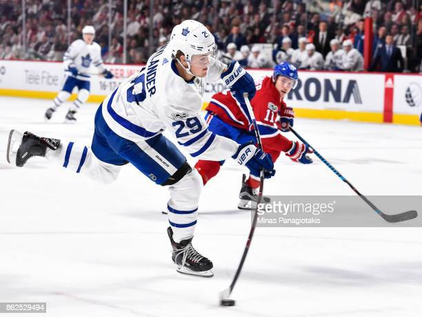 William Nylander of the Toronto Maple Leafs takes a shot against the Montreal Canadiens during the NHL game at the Bell Centre on October 14 2017 in...