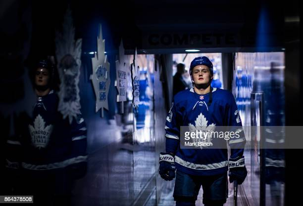 William Nylander of the Toronto Maple Leafs walks through the hallway to the dressing room prior to the game against the Detroit Red Wings at the Air...
