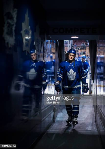 William Nylander of the Toronto Maple Leafs walks through the hallway to the dressing room before playing the Calgary Flames during the first period...