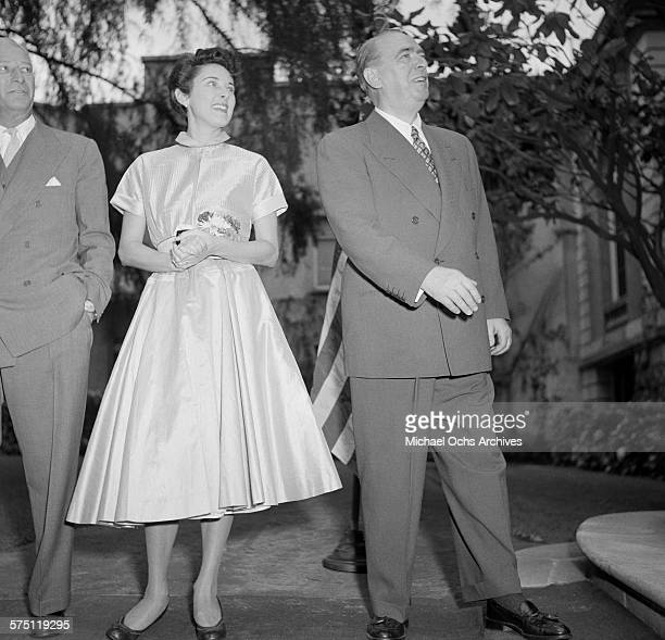 William O'Dwyer the United States Ambassador to Mexico and his wife Sloan Simpson attend the party at the US Embassy in downtown Mexico City Mexico