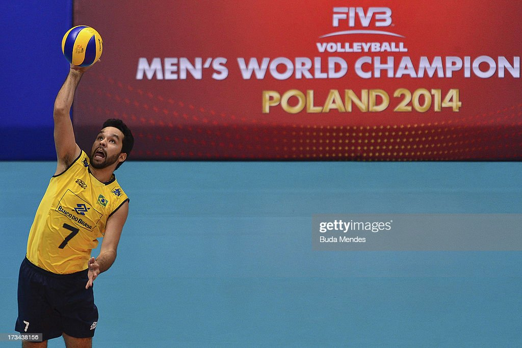 William of Brazil in action against USA during a match between Brazil and USA as part of the FIVB Volleyball World League 2013 at the Maracanazinho gymnasium on July 14, 2013 in Rio de Janeiro, Brazil.