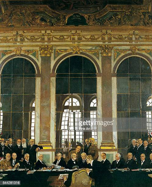 William Orpen The Signing of the Peace Treaty in the Hall of Mirrors Versailles 28th June 1919 oil on canvas 1524 x 127 cm Imperial War Museum London