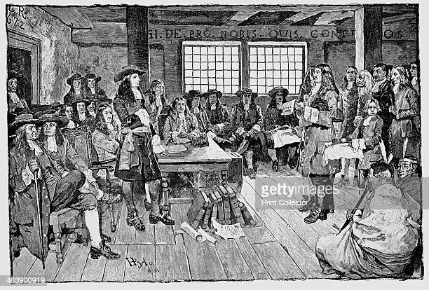 William Penn English Quaker and colonialist founder of Pennsylvania in conference with Colonialists 1682 From 'Harper's Weekly' 1883