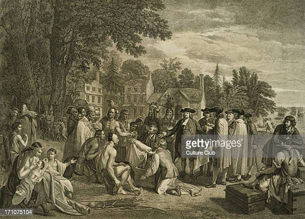 'William Penn's Treaty with the Indians When he Founded the Province of Pennsylavnia 1681' painting by Benjamin West Engraving by John Hall WP...