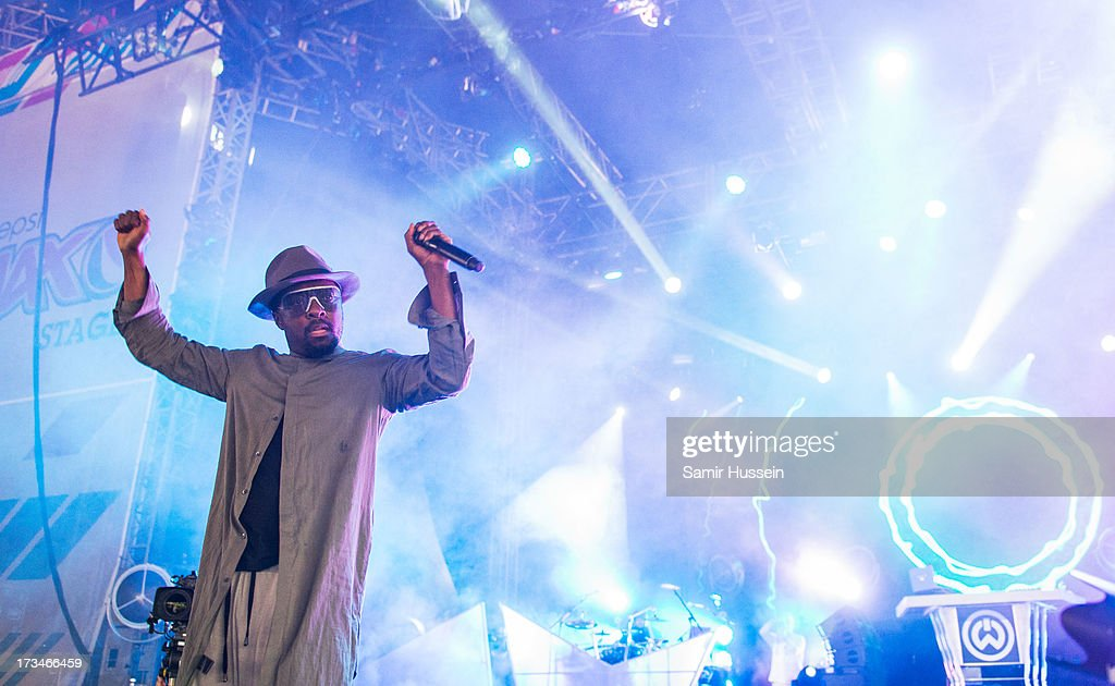 will.i.am performs on day 3 of the Yahoo! Wireless Festival at Queen Elizabeth Olympic Park on July 14, 2013 in London, England.