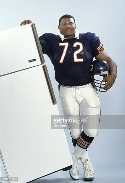 William Perry Chicago Bears defensive tackle aka William ' Refrigerator' Perry poses with a refrigerator