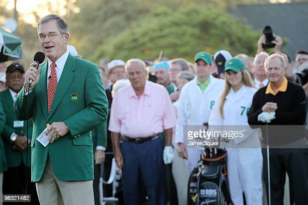 William Porter Payne Chairman of Augusta National Golf Club announces the names of honorary starters Jack Nicklaus and Arnold Palmer during the first...