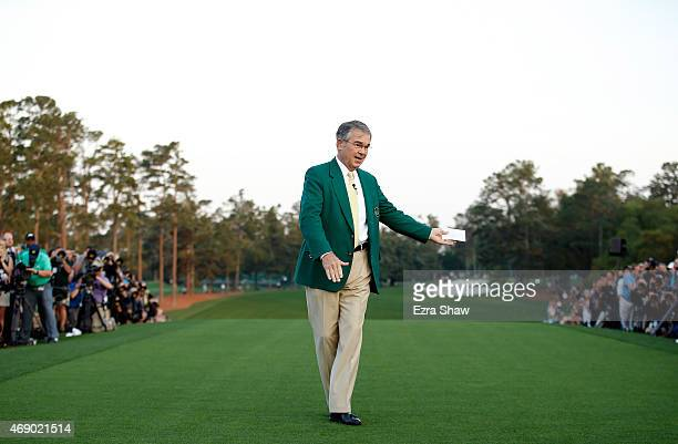 William Porter Payne Chairman of Augusta National waits on the first tee during the first round of the 2015 Masters Tournament at Augusta National...