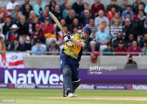 William Porterfield of Birmingham Bears hits out during the Natwest T20 Blast Semi Final match between Birmingham Bears and Surrey at Edgbaston on...